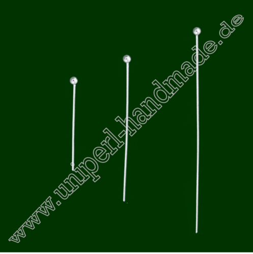 Ballpins, 6 Pieces, Thickness 0,8 mm, Length 5 cm, 925 Sterling Silver