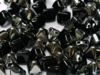 Pyramid Beads, 6x6 mm, Jet Chrome