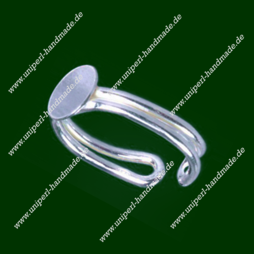 Sterling Silver Adjustable Finger Ring, Double Ring Rail, Adhesive Surface Diameter 8 mm